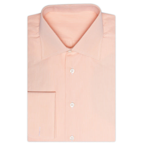 BESPOKE ATHENS Handmade Peach Cotton French Cuff Dress Shirt EU 39 NEW US 15.5