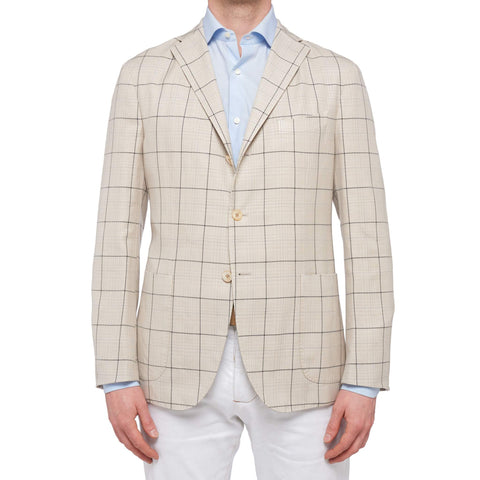 "BOGLIOLI Milano ""K. Jacket"" Ivory Plaid Wool-Silk-Linen Unlined Jacket 50 NEW 40"