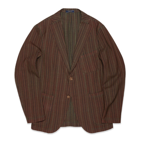 BOGLIOLI Galleria Brown Striped Wool-Silk Unconstructed Jacket EU 48 NEW US 38