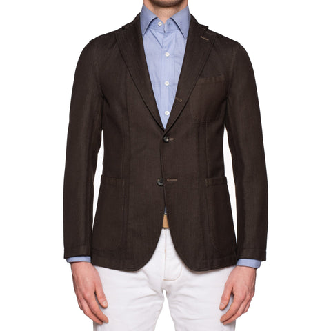 BOGLIOLI Galleria Dark Brown Wool-Cotton Unconstructed Jacket EU 48 NEW US 38