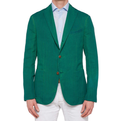 BOGLIOLI Galleria Green Herringbone Garment Dyed Cotton-Linen Jacket 48 NEW 38
