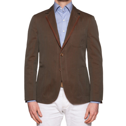 "BOGLIOLI Galleria ""73"" Khaki Herringbone Cotton Solaro Jacket EU 48 NEW US 38"