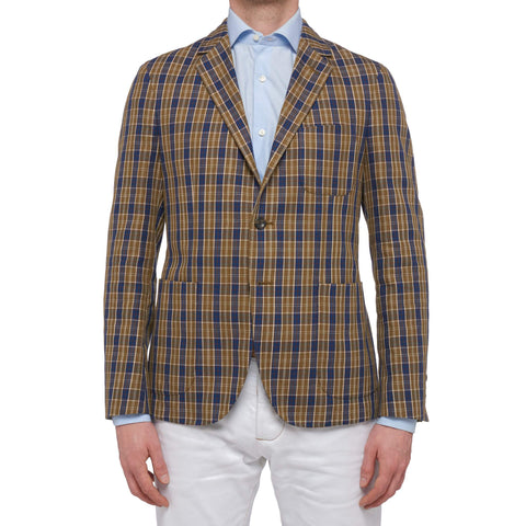 "BOGLIOLI Milano ""Dover"" Plaid Cotton-Linen Unlined Jacket EU 48 NEW US 38"