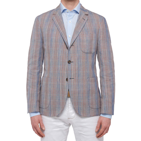 "BOGLIOLI Milano ""Dover"" Plaid Cotton-Linen Unlined Jacket EU 50 NEW US 40"