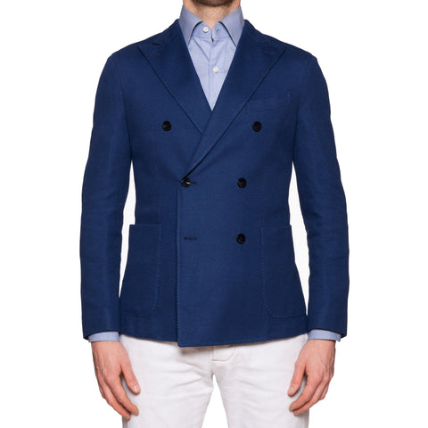"BOGLIOLI Milano ""K. Jacket"" Blue Cotton Knitted DB Jacket EU 48 NEW US 38"