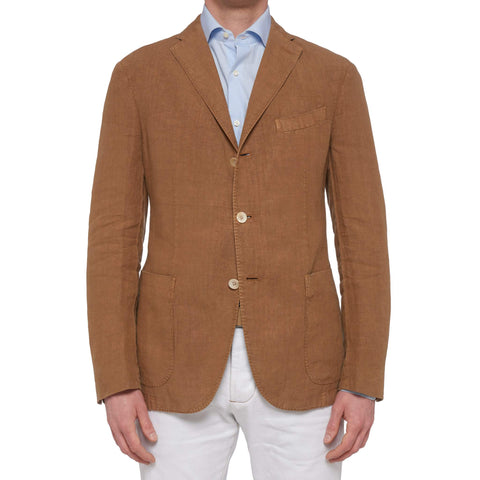 "BOGLIOLI Milano ""K. Jacket"" Brown Garment Dyed Linen Unlined Jacket 50 NEW US 40"