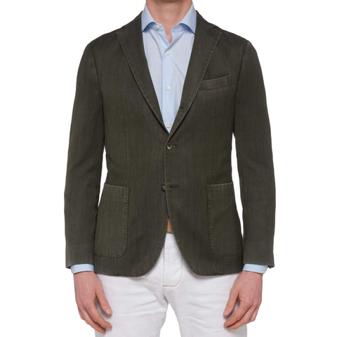 "BOGLIOLI Milano ""K. Jacket"" Green Herringbone Wool Unlined Jacket 48 NEW US 38"