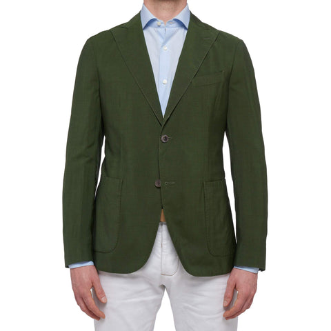 "BOGLIOLI ""K. Jacket"" Green Wool-Mohair Unlined Peak Lapel Jacket EU 50 NEW US 40"