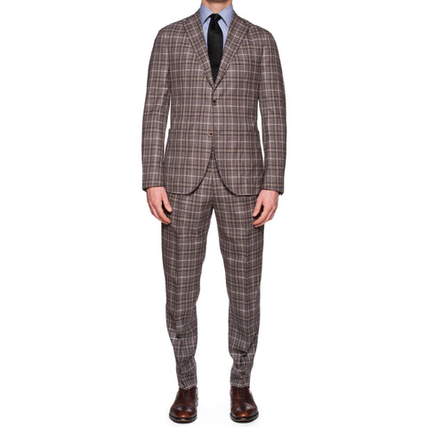 "BOGLIOLI Milano ""K. Jacket"" Multi-Color Plaid Wool-Silk Unlined Suit 50 NEW US 4"