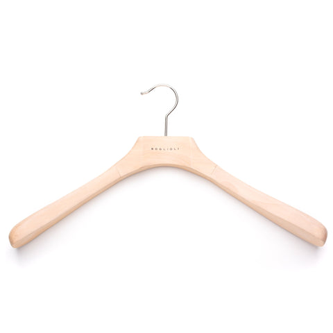 BOGLIOLI Natural Wood Coat Hanger Set of 5 Size 42/M-L 45/XL