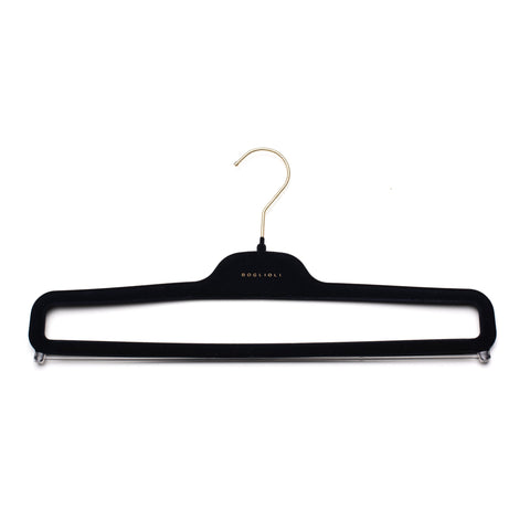 BOGLIOLI by Mainetti Navy Blue Plastic Velvet Pants Hanger Set of 5