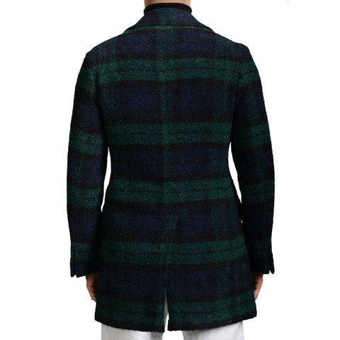 "BOGLIOLI ""Dover"" Blue-Green Plaid Wool-Angora-Mohair-Silk Coat 48 NEW US 38 / S"