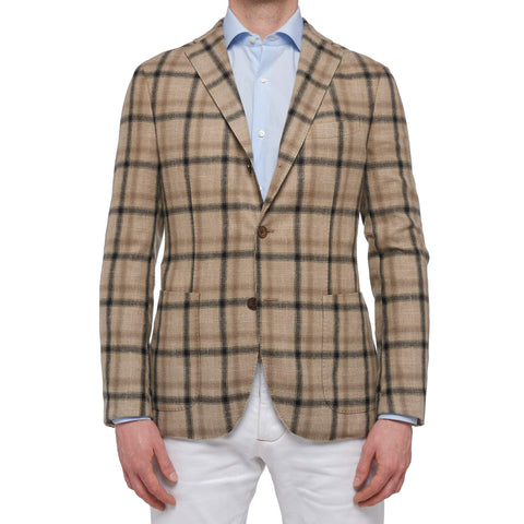 "BOGLIOLI ""K. Jacket"" Beige Plaid Wool Unlined Jacket with Elbow Patch 48 NEW 38"