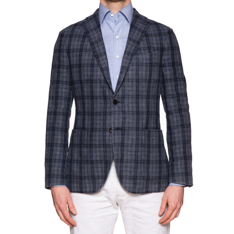 "BOGLIOLI ""K. Jacket"" Blue Plaid Cashmere-Wool-Cotton Unlined Jacket 50 NEW US 40"