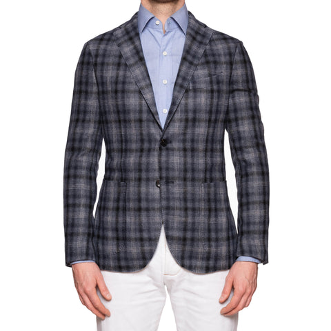 "BOGLIOLI ""K. Jacket"" Gray Plaid Wool Unlined Jacket with Elbow Patch 48 NEW 38"