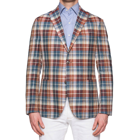 "BOGLIOLI ""K. Jacket"" Plaid Wool-Silk-Linen Unlined Madras Jacket 50 NEW US 40"
