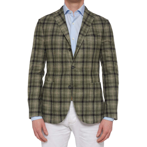 "BOGLIOLI ""K. Jacket"" Olive Plaid Wool Unlined Jacket with Elbow Patch 48 NEW 38"