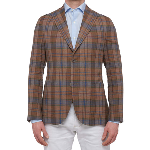 "BOGLIOLI ""K. Jacket"" Plaid Linen-Wool Unlined Peak Lapel Jacket EU 48 NEW US 38"