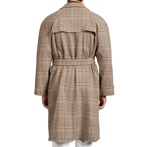 BOGLIOLI Beige-Brown Plaid Wool Cotton Unlined Belted Overcoat 54 NEW US 44 / XL