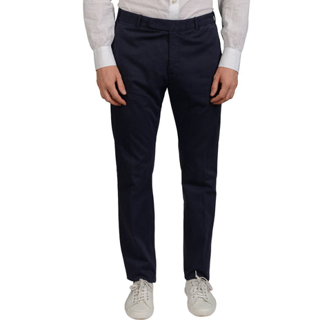 BOGLIOLI Milano Navy Blue Cotton Flat Front Slim Fit Pants EU 48 NEW US 32