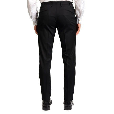 "BOGLIOLI Milano ""Wear"" Black Wool Flat Front Dress Pants EU 48 NEW US 32"