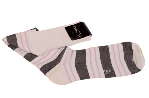 BRESCIANI For BESPOKE ATHENS White Striped Cotton Knee High Socks NEW