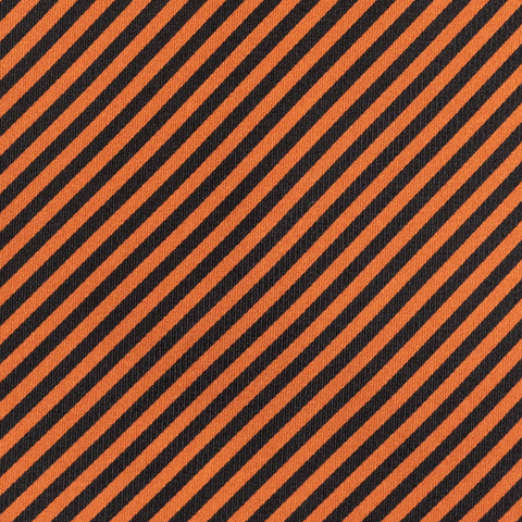 BRIONI Handmade Orange-Black Striped Silk Tie NEW