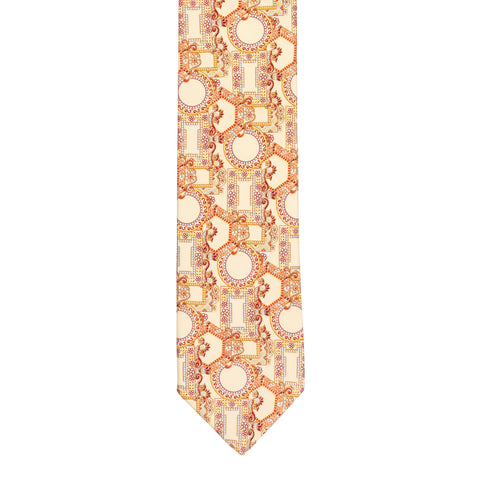 BRIONI Handmade Cream Floral Geometric Silk Tie NEW