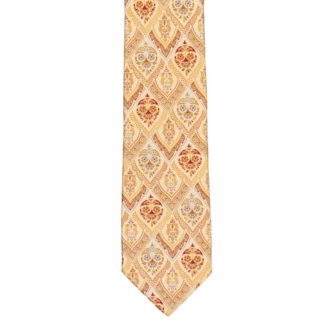 BRIONI Handmade Cream Floral Medallion Silk Tie NEW