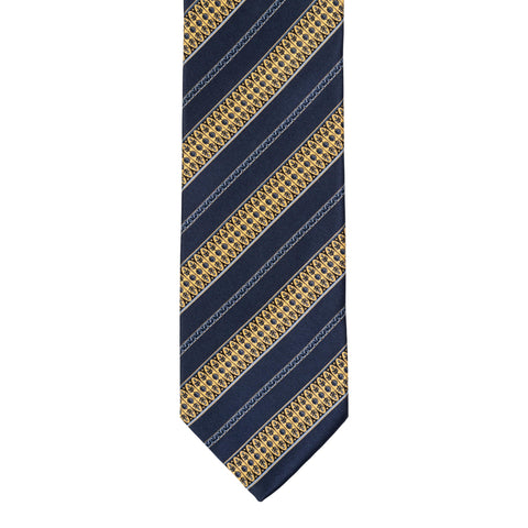 BRIONI Handmade Navy Blue Striped Silk Tie NEW
