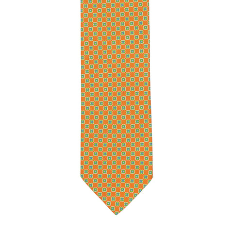 BRIONI Handmade Orange Floral Macro-design Silk Tie NEW