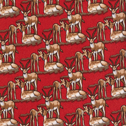 BRIONI Handmade Red Antelope Animal Printed Silk Tie NEW