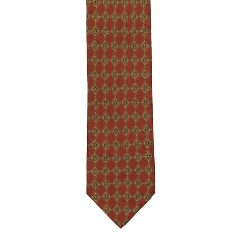 BRIONI Handmade Rust Medallion Silk Tie NEW