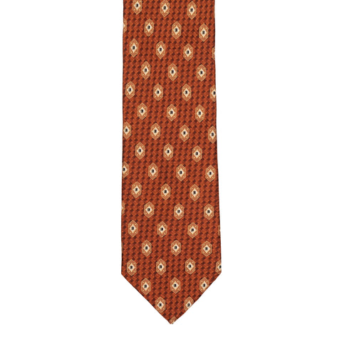 BRIONI Handmade Rust Micro-design Medallion Silk Tie NEW