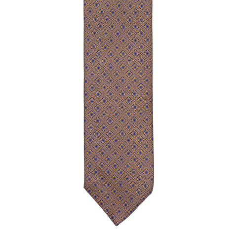 BRIONI Handmade Tan-Blue Textured Foulard Silk Tie NEW