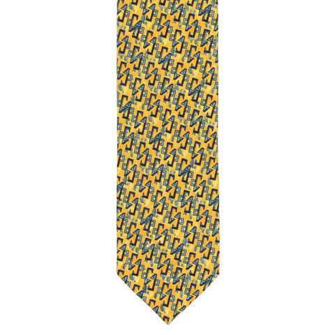 BRIONI Handmade Yellow-Orange Geometric Silk Tie NEW