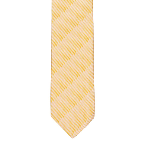 BRIONI Handmade Yellow Muted Striped Textured Silk Tie NEW