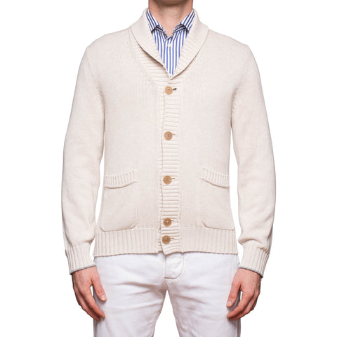 BRUNELLO CUCINELLI Beige Cotton Knitted Shawl Collar Cardigan Sweater 50 NEW M