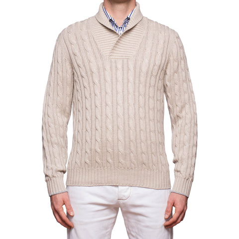 BRUNELLO CUCINELLI Beige Cotton Shawl Collar Cable Knit Sweater EU 50 NEW US M