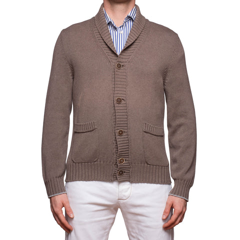 BRUNELLO CUCINELLI Brown Cotton Knitted Shawl Collar Cardigan Sweater EU 50 US M