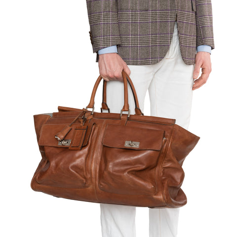 BRUNELLO CUCINELLI Brown Leather Travel Duffle Bag Weekender