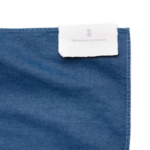 BRUNELLO CUCINELLI Solid Blue Denim Pocket Square Pochette NEW 35cm x 35cm