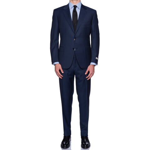 CANALI 1934 Navy Blue Jacquard Micro Patterned Wool Suit 56 NEW 46 2019-20 Model