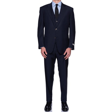 "CANALI 1934 ""Travel"" Navy Blue Wool-Mohair 3 Piece Suit 58 NEW 48 2019-20 Model"