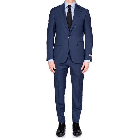 "CANALI 1934 ""Natural Comfort"" Blue Wool 1 Button Peak Lapel Suit NEW"