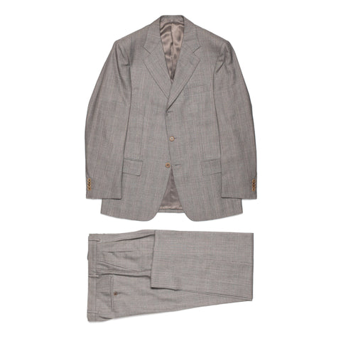 CASTANGIA 1850 Gray Prince of Wales Wool Suit EU 48 US 38
