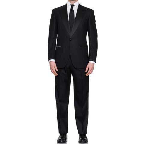 CASTANGIA 1850 Black Herringbone Wool-Cashmere Tuxedo Suit EU 50 NEW US 40