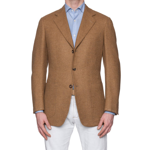 CASTANGIA 1850 Brown Flannel Wool-Cashmere Unlined Jacket EU 50 NEW US 40