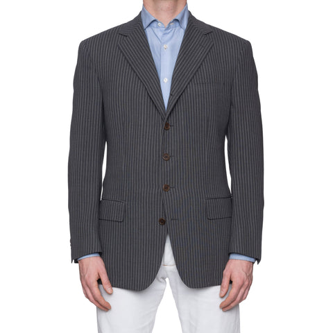 CASTANGIA 1850 Gray Striped Wool-Cotton 5 Button Jacket EU 52 NEW US 42