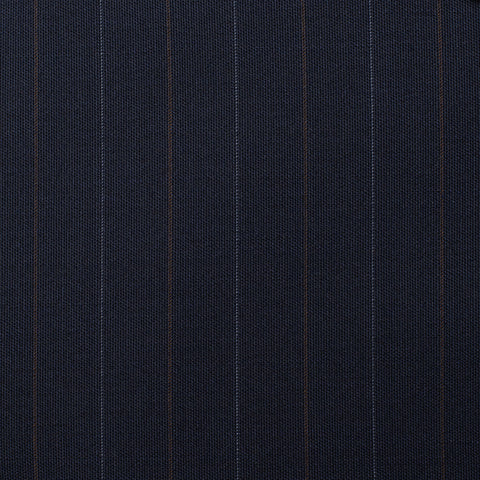 CASTANGIA 1850 Navy Blue Striped Wool DB Suit EU 48 NEW US 38